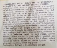 Chocolats en gâteaux - Ingredients