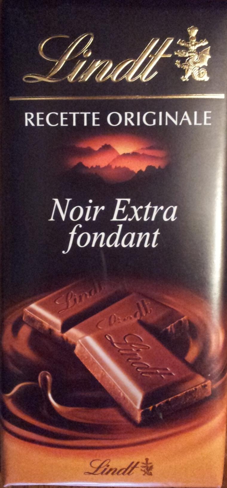 Chocolat Lindt Noir Extra fondant. 52% cacao - Produit