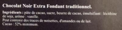 Chocolat noir fondants - Ingredients - fr