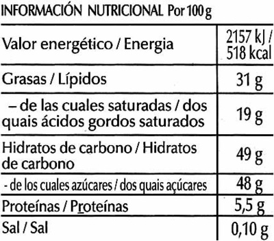 Chocolat noir fondants - Información nutricional - es