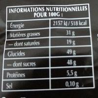 Chocolat Lindt Noir Extra fondant. 52% cacao - Informations nutritionnelles