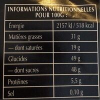 Chocolat noir fondants - Informació nutricional - fr