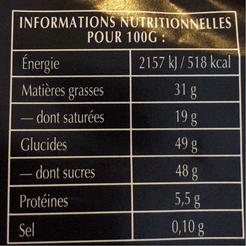 Chocolat noir extra fondants - Nutrition facts - fr