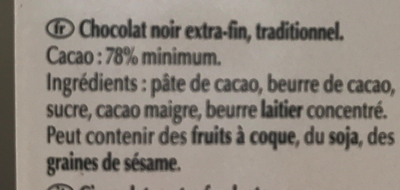 Excellence noir corsé 78% cacao - Ingredientes