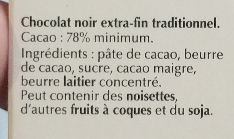 Lindt Excellence 78% - Ingrédients - fr