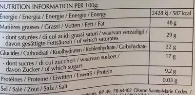 Excellence noir corsé 78% cacao - Información nutricional