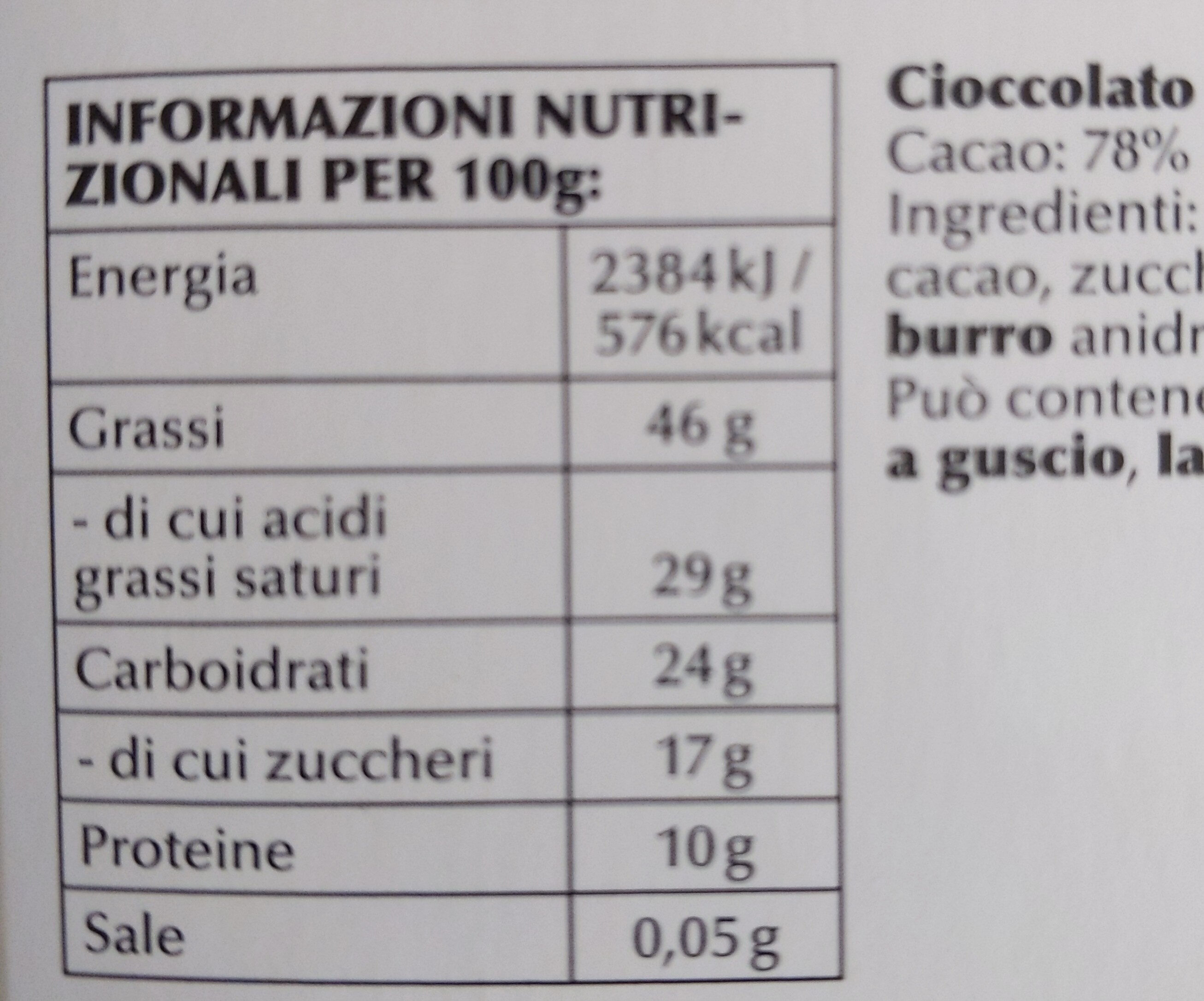 Chocolat noir extra-fin, traditionnel. - Informazioni nutrizionali - it