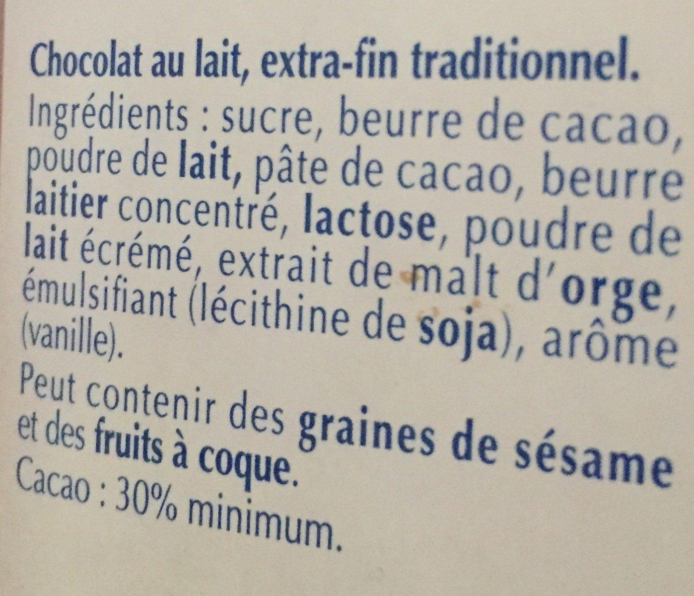 Excellence Extra Fondant Lait - Ingrédients - fr