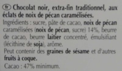 Chocolat noir noix de pécan caramélisée - Ingredientes - fr
