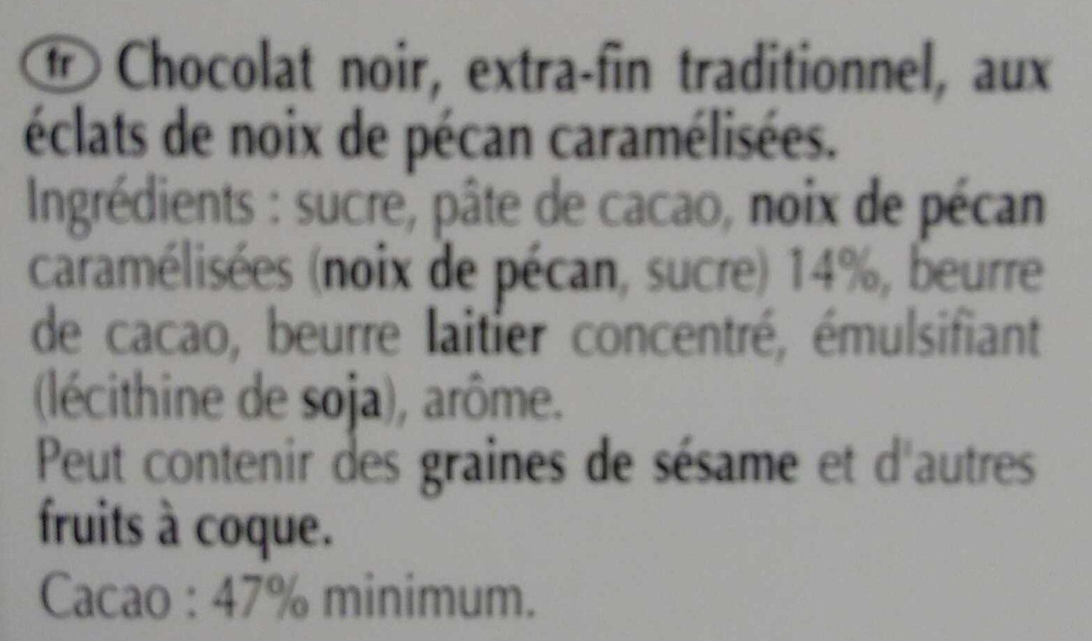 Excellence - Choix noir aux éclats de noix de pécan caramélisée - Ingrédients - fr