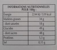 Excellence - Choix noir aux éclats de noix de pécan caramélisée - Informations nutritionnelles - fr