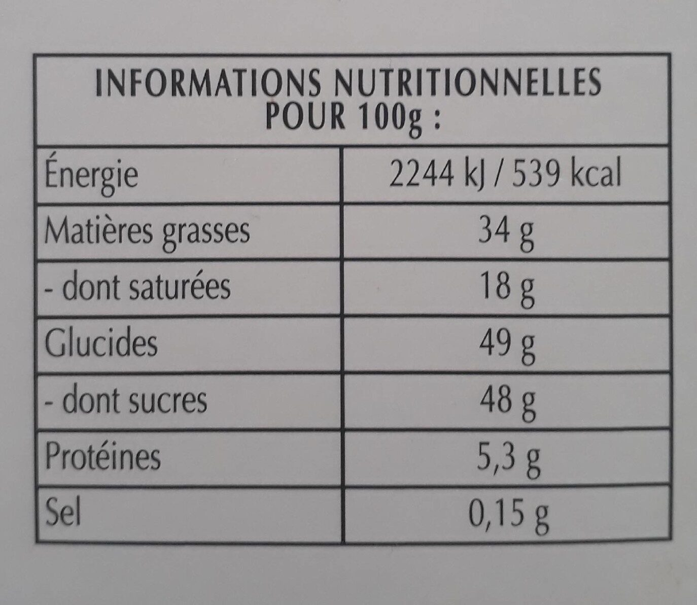 Chocolat noir noix de pécan caramélisée - Información nutricional - fr