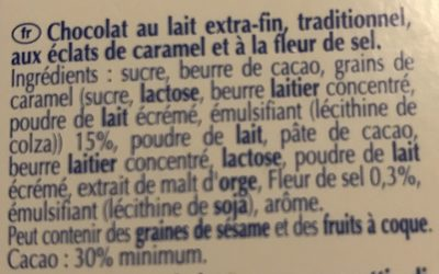 Excellence Milk Sea Salt Caramel - Ingrédients - fr