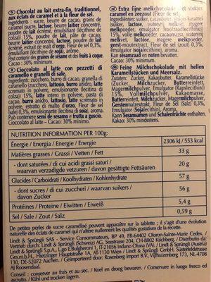 Chocolait au lait & caramel à la pointe de sel - Nutrition facts
