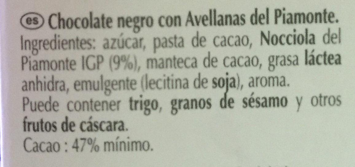 Excellence Noisette du Piemont Noir - Ingredientes - es