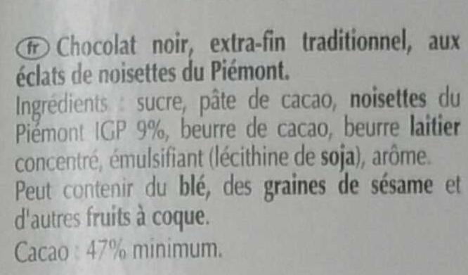 Excellence Noisette du Piemont Noir - Ingredients - fr