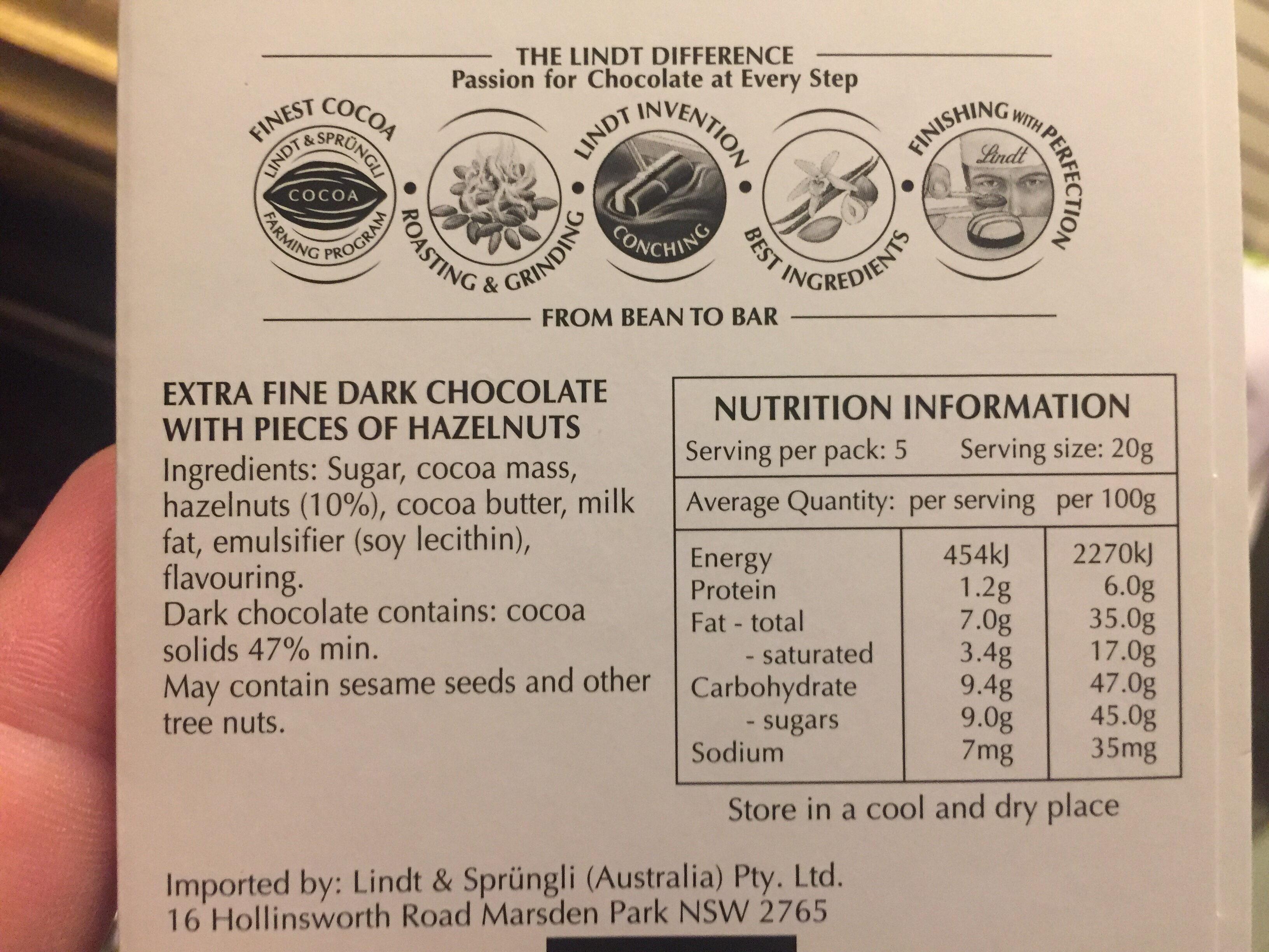 Excellence Noisette du Piemont Noir - Nutrition facts - en