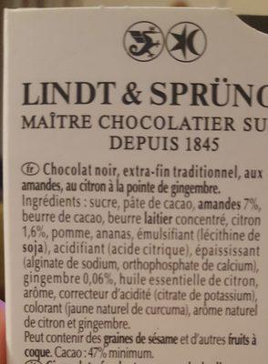 Excellence - Chocolat noir citron gingembre - Ingrediënten