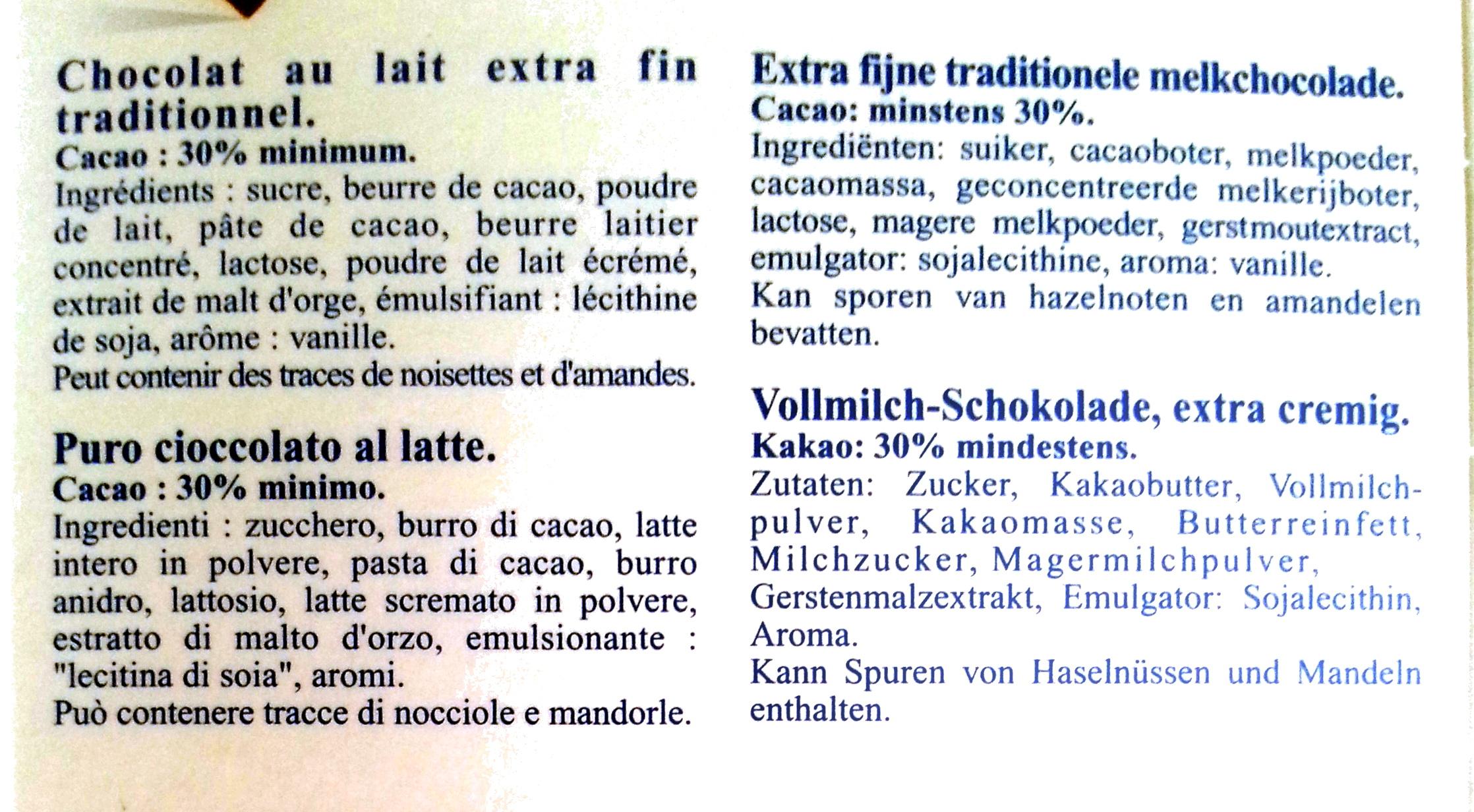 Lindt Excellence Extra Fondant Lait - Ingrédients