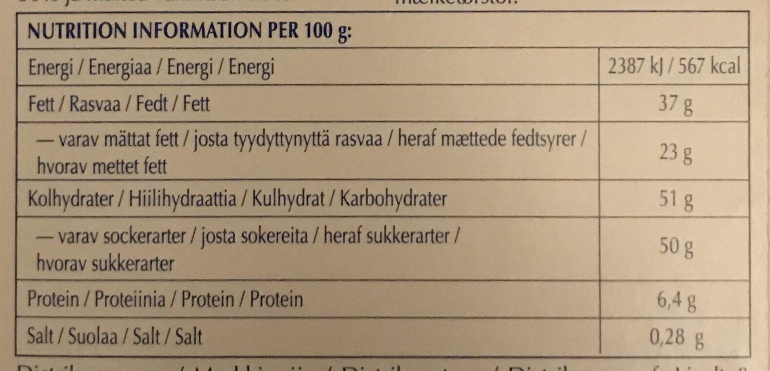 Lindt Excellence Extra Creamy Milk - Ravintosisältö - fi