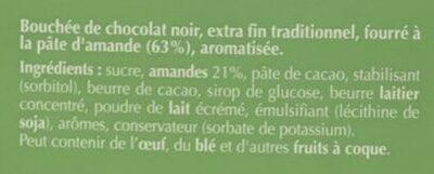 Mini Carrés Pâte d'Amande chocolat noir - Ingrédients