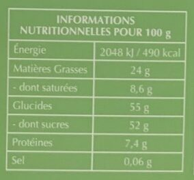 Mini Carrés Pâte d'Amande chocolat noir - Informations nutritionnelles