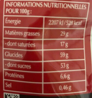 Billes ourson - Nutrition facts
