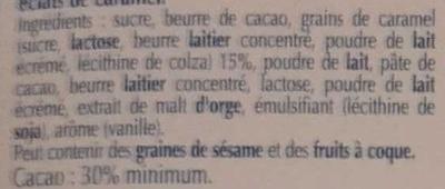 Excellence Caramel Croquant Lait - Ingredients - fr