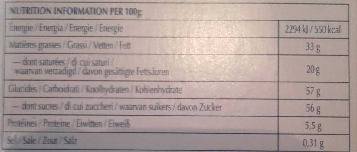 Excellence Caramel Croquant Lait - Nutrition facts - fr
