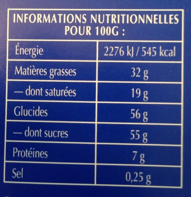 Chocolat Lait Extra Fin - Nutrition facts