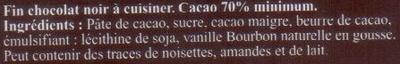 A Cuisiner le 70% Cacao - Ingrédients