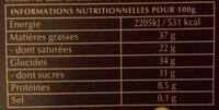 A Cuisiner le 70% Cacao - Informations nutritionnelles
