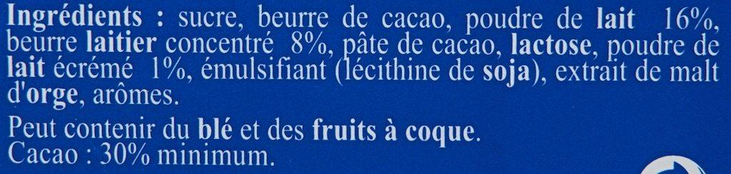 Tablette Recette Originale Double Lait - Ingrediënten - fr