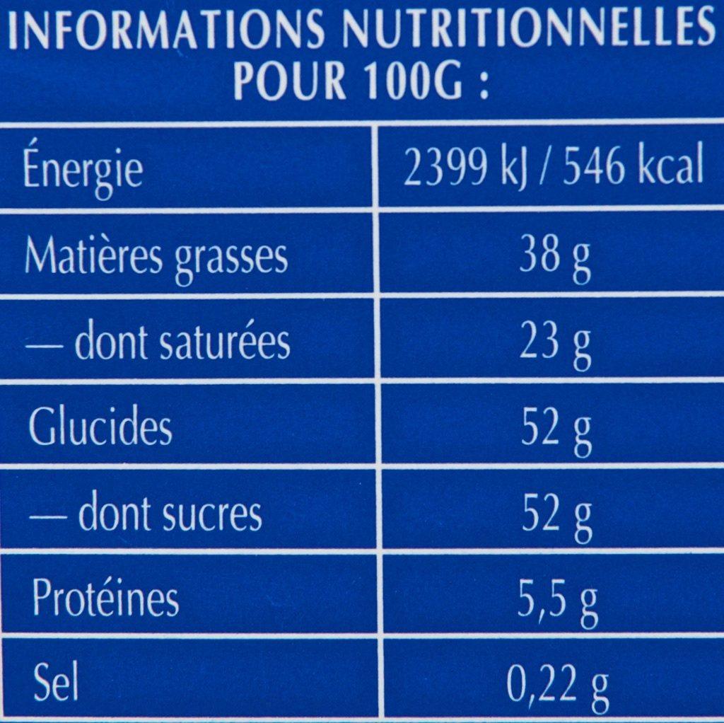 Tablette Recette Originale Double Lait - Voedingswaarden - fr