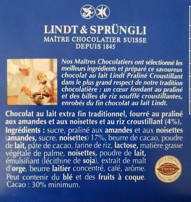 Lindt Recette Originale Praline Croustillant 2x100g - Ingredients