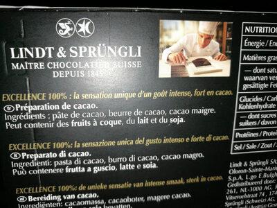 Excellence - 100% cacao noir infini - Ingrédients - fr