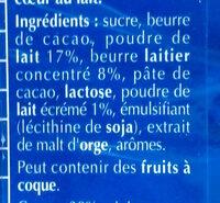 Lindt maître  chocolatier double lait - Ingredients - fr