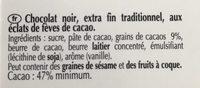 Chocolat noir pépite de cacao - Ingredients - fr