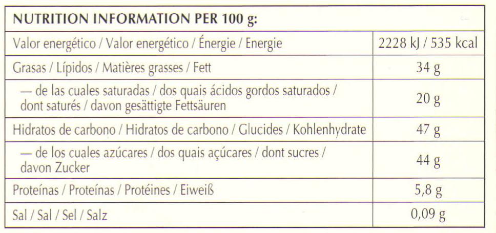 Excellence Pépites de cacao noir - Nutrition facts