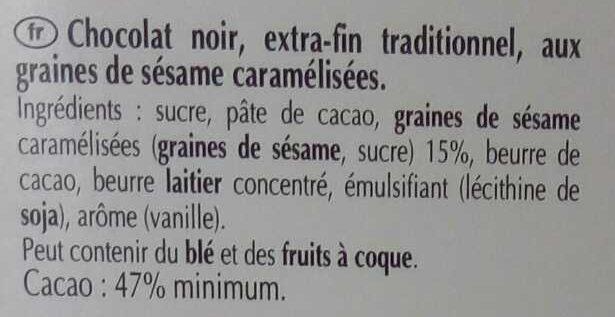 Chocolat noir sésame grillé - Ingrediënten