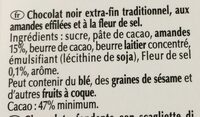 Chocolat noir pointe de sel amandes - Ingredients - fr