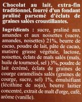 Maxi plaisir. Lait praliné graines salées  - Ingrédients
