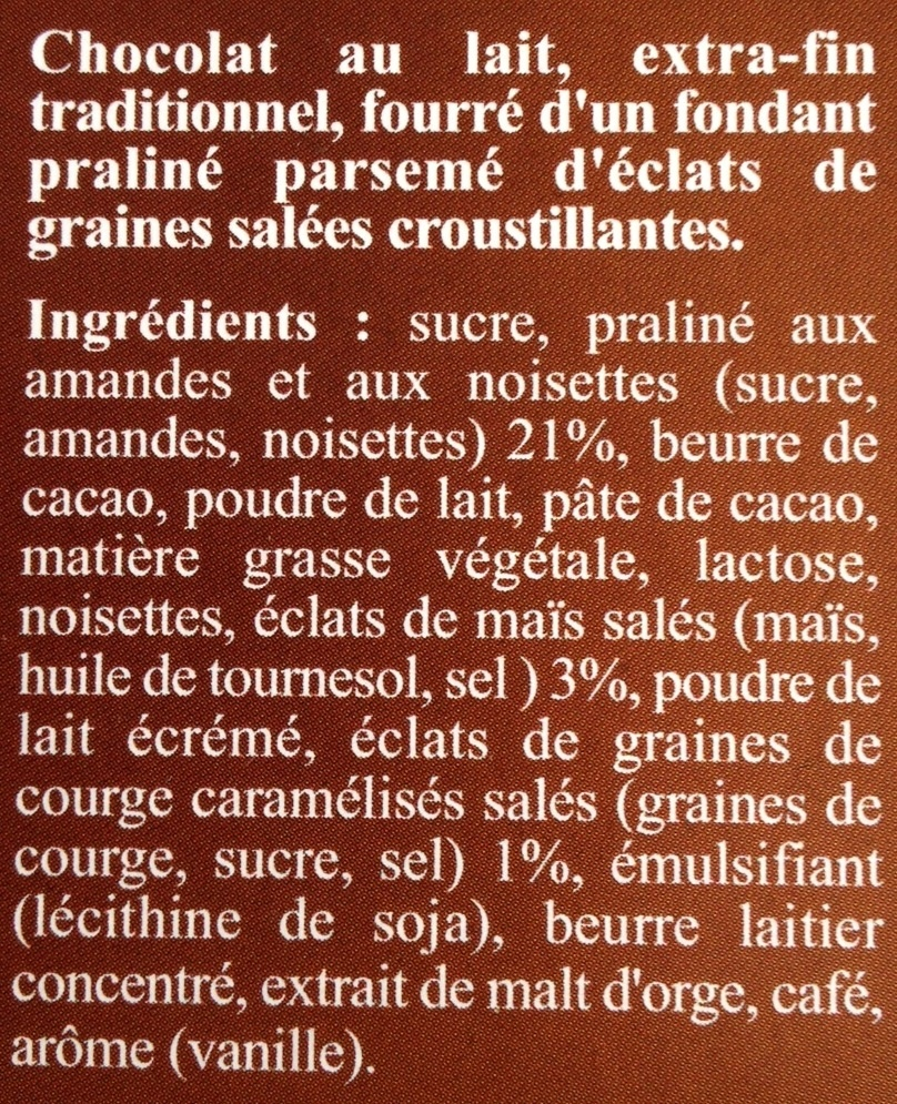 Maxi plaisir. Lait praliné graines salées - Ingredients - fr
