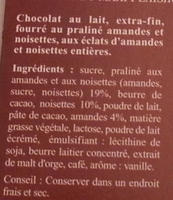 Maxi Plaisir Lait Praliné Noisettes - Ingredients