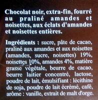 MAXI PLAISIR Noir Praliné Noisettes - Ingredients - fr