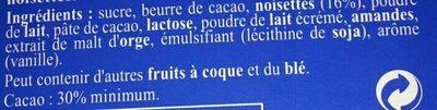 Recette Originale Lait Noisettes - Ingredients