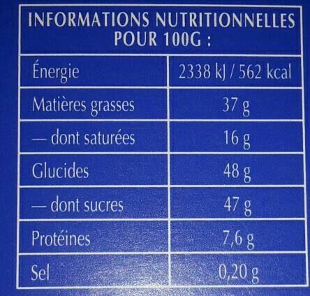 Recette Originale Lait Noisettes - Nutrition facts