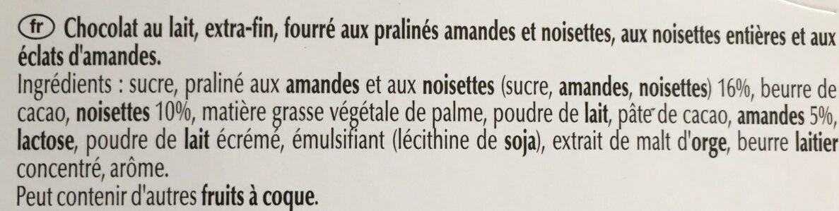 Chocolat au lait praliné noisettes - المكونات - fr