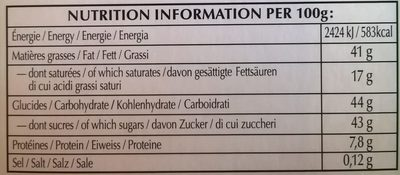 Chocolat au lait praliné noisettes - حقائق غذائية - fr