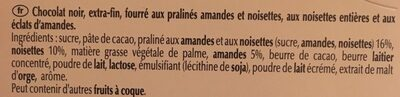 Chocolat noir praliné noisettes - Ingrédients